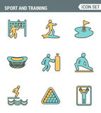 Icons line set premium quality of outdoor sports training, various athletic activity Modern pictogram collection flat design style. Symbol . Isolated white Royalty Free Stock Photo