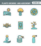 Icons line set premium quality of plants growing and agronomy farming farmer bio stem. Modern pictogram collection flat design Royalty Free Stock Photos
