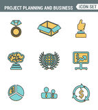 Icons line set premium quality of project planning and business workflow development. Modern pictogram collection flat design. Style symbol .  white background Stock Photos