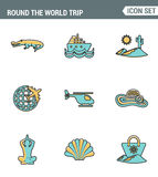Icons line set premium quality of round the world trip transport vacation travelling transportation. Modern pictogram collection Royalty Free Stock Photo