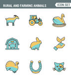 Icons line set premium quality of rural and farming animals agricultural nature industry. Modern pictogram collection flat design Stock Images