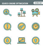 Icons line set premium quality of search engine optimization tools for growth traffic. Modern pictogram collection flat design Stock Photography