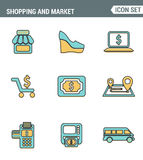 Icons line set premium quality of shopping symbol, shop elements and commerce items, market objects store products. Royalty Free Stock Photo
