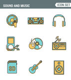Icons line set premium quality of sound symbols and studio equipment, music instruments, audio multimedia objects. Modern pictogram collection flat design Stock Photography