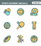 Icons line set premium quality of sports equipment and wear, various type balls. Modern pictogram collection flat design style Royalty Free Stock Photography