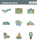 Icons line set premium quality of tourism travel transportation, trip to resort hotel. Modern pictogram collection flat design Stock Image