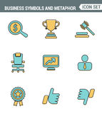 Icons line set premium quality of various business symbols and metaphor elements. Modern pictogram collection flat design style. Royalty Free Stock Image