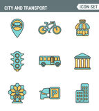 Icons line set premium quality of various city elements, street transportation sign. Modern pictogram collection flat design style Royalty Free Stock Image