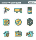 Icons Line set of premium quality various security objects, information and data protection system, safety access elements. Royalty Free Stock Image