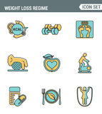 Icons line set premium quality of weight loss regime fitness gymnastics gum icon . Modern pictogram collection flat design style Stock Images