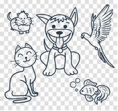 Icons in the linear style  veterinary clinic. Icons in the linear style of the parrot. kitten, puppy, fish, hamster for veterinary clinic, pet shop Royalty Free Stock Photo