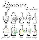 Icons of liqueurs Stock Photos