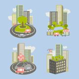 Icons about live nature in the city Stock Photos