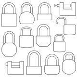 Icons of locks from thin lines, vector illustration. Icons locks of different shapes from thin lines, isolated on white background. Flat style, vector Royalty Free Stock Image