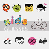 Icons, logos for the company of children's glasses, different cute and funny images. Icons for the company of children's glasses, different cute and funny images Stock Photo