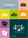 Icons of London. Landmarks of London. Set of flat color icons in Metro style. Editable vector illustration Royalty Free Stock Images