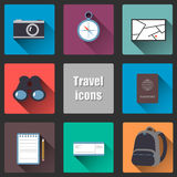 Icons with long shadows on the topic travel Royalty Free Stock Photo