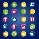 Icons. A lot of colored icons related to social network Royalty Free Stock Image