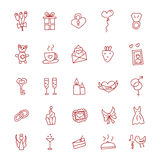 Icons of love hand drawn doodle in style. Vector illustration. Royalty Free Stock Photos