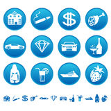 Icons of luxury life. Vector icons of luxury life Stock Images