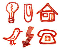 Icons made of ketchup Royalty Free Stock Photos