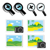 Icons of magnifying glass and icons of images, photos Stock Image
