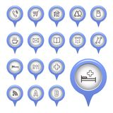 Icons on the map arrow. Vector illustration Royalty Free Stock Photography