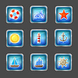 Icons with marine elements Stock Images