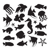 Icons marine life. Silhouette icons marine life underwater Royalty Free Stock Images
