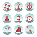 Icons on the marine theme Stock Photos