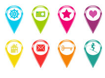 Icons for markers on maps Royalty Free Stock Photography