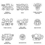 Icons of marketing and new ideas in electronic business. Stock Image