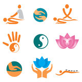 Icons_of_massage. Set of massage , wellnes and spa icons. Vector illustration Royalty Free Stock Images