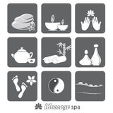 Icons massage spa Stock Images