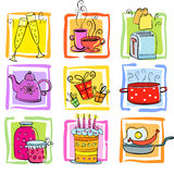 Icons Meal and ware. Nine cute food and were icons, vector available Royalty Free Stock Images