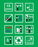Icons Measuring device for oil pipeline on green background. Markings in areas of the pipeline on green background vector illustration Stock Photo