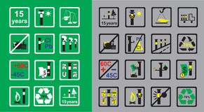 Icons Measuring device for oil pipeline on green and grey background. Markings in areas of the pipeline and properties of measuring  devises on green and grey Stock Photo