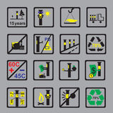 Icons Measuring device for oil pipeline on grey background. Markings in areas of the pipeline and properties of measuring  devises on grey background vector Stock Photography