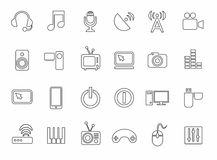 Icons, media, computer, video, music, communications, telephone, contour, monochrome. Royalty Free Stock Images