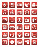 Icons media red Stock Photo