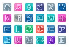 Icons media, white outline, communication, computer, colored background, shadow. Stock Image