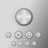 Icons mediacentre (extra). DVD player, multimedia player, Blueray, icons: volume knob, eject, back, arows, plus, min Royalty Free Stock Photos