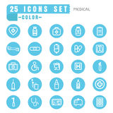 Icons Medical color thin white in the circle blue on white backg Royalty Free Stock Image