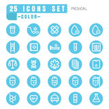 Icons Medical color thin white in the circle blue on white backg Royalty Free Stock Photo