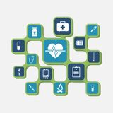 Icons of medical equipment. Medical concept background. Icons of medical equipment, diagnostics and medicine. Abstract medicine background. Illustration stock illustration