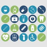 Icons of medical equipment. Medical concept background. Icons of medical equipment, diagnostics and medicine. Abstract medicine background. Illustration royalty free illustration