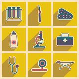 Icons of medical instruments and medicament in Royalty Free Stock Images