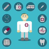 Icons with medical signs Royalty Free Stock Images