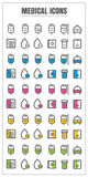 Icons medical thin line color black blue pink Yellow green vecto Stock Image