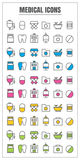 Icons medical thin line color black blue pink Yellow green vecto Stock Images